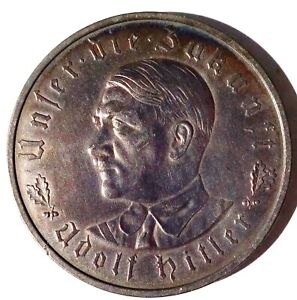 """Germany Hitler """"Ours the Future"""" Silver Medal 1933 21.6g 36mm C-30"""