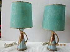 Vanity Lamps Dresser Lamps Vtg Rare! Pair Aqua Gold Handles Fiberglass Shades
