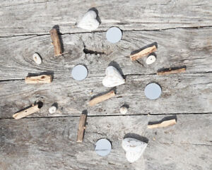 Hand Made Shabby Chic White Hearts Mirrors Driftwood Stone Hanging Mobile 180cm