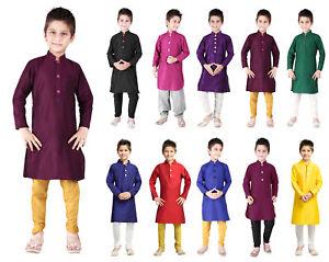 Kids Kurta Pajama Dupion Silk Indian Traditional Dress Party Wear Churidar Pant