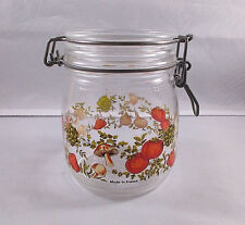 ARC Vegetable Pattern Glass Jar and Lid w/ Metal Clamp 3/4 Liter No Rubber Seal