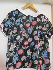 Black & Multicoloured Floral See Through Blouse / Top in Size 10