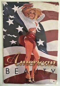 American Beauty Tin Sign (Man Cave Garage Den Ford Mopar Blue Oval Bow Tie)