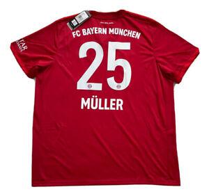 2019/20 Bayern Munich Home Jersey #25 Muller 2XL Adidas Soccer Football NEW