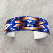 Navajo Beadwork- Bracelet-Native American Hand Beaded Cuff Bracelet-Blue Sparkle