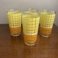 Vintage Set of 4 Indonesia Juice Drinking Glasses Yellow Orange Abstract Heavy