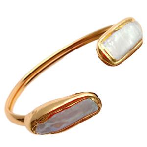 Cultured White Biwa Rectangle Pearl Gold Plated Bangle Bracelet