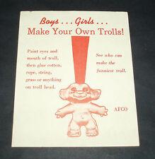 Vintage PLASTIC TROLL Gumball Machine Insert Card wishnik dam
