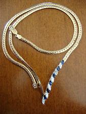 VINTAGE 14K YELLOW GOLD V SHAPED BLUE SAPPHIRE DIAMONDS NECKLACE 18 GR 1.20 TCW