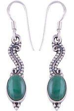 Handcrafted Genuine 925 Sterling Silver Malachite Gemstone Dangle Earrings Rich