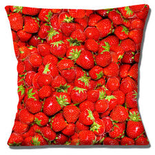 Strawberries Fruit Cushion Cover 16x16 inch 40cm Photo Print Summer Unique Gift