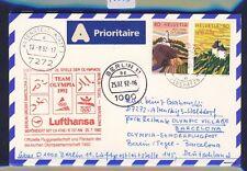 48883) LH Olympiade SF Berlin - Barcelona 25.7.92, Karte ab Schweiz