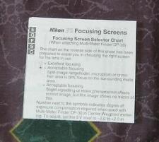 Nikon F5 focusing screens leaflet