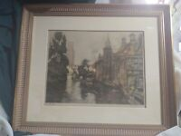 Signed Numbered Titled Lithograph Print Julien Celos Old Bruges Belgium Framed