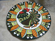 Round Chicken Serving Platter Plate Decorative Designe Colorful Rooster
