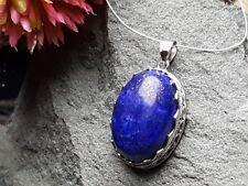 Edelsteinanhänger, Lapis Lazuli Oval Silber, 28 X 21 mm, Kette, Schmuck