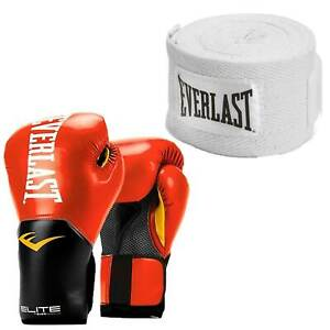 Everlast Red Elite Boxing Gloves 16 Ounce & White 120-Inch Hand Wraps