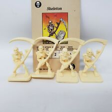 HERO QUEST REPLACEMENT SKELETON FIGURE MINI MINIATURE LOT OF 4 W/ MONSTER CARD