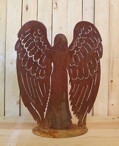 Engel auf Platte Edelrost Gartendeko Rost Deko Winter Weihnachten 1944