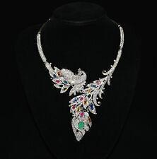 925 Sterling Silber Collier, Weißgold vergoldet, Smaragd Saphir Rubin & CZ, Neu