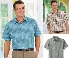 NEW Duke Haband Men's Snap Button Front Shirt Short Sleeve Gingham Check Plaid