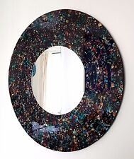 Round mosaic wall mirror,  black and orange speckled hand made in Bali, 60cm-NEW