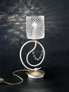 Bedside Lamp Lumetto Crystal White Glass Gold Bell Class 3018 / Lu