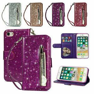 For Samsung A12 S21 A22 S20 Bling Glitter Leather Zip Coin Purse Card Flip Case