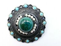 Sterling Sliver 950 Antique Aventurine Turquoise - Pearl Scallop Brooch Pendant
