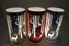 LED Christmas Reindeer Woodland Scene Metallic Night Light Hurricane Lamp 18cm