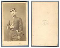 A. Cailliez, Un militaire pose  CDV vintage albumen carte de visite,  Tirage a