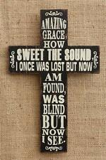 New French Country Chic Black AMAZING GRACE CROSS Plaque Sign Wall Hanging