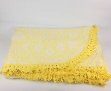 "VTG 50s 60s Yellow Floral Matelasse Bedspread Fringe Coverlet Twin 78"" X 112"""
