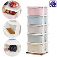 5 Tier Organiser Plastic Drawer Storage Office Box Cabinet Coloured HCOC83305