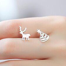 ORECCHINI ARGENTO RENNA E ALBERO NATALE 0,5 cm  - Silver Earrings Reindeer Tree