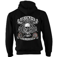 Biker Zip Hoodie Hoody Jacket Motorcycle Motorbike Bobber Chopper Lucky Ride 36