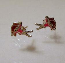 925 Sterling Silver Childrens Ballet Dancer Stud Earrings, Butterfly Backs, 10mm