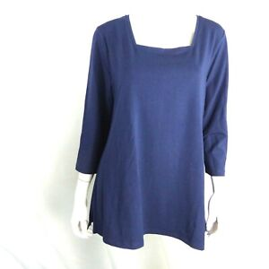 Isaac Mizrahi 3/4 Slv Square Neck Knit Tunic Dark Navy L A366337
