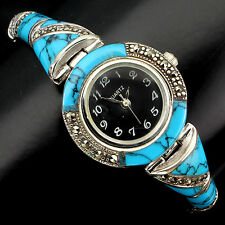 Sterling Silver 925 Genuine Cabochon Turquoise and Marcasite Watch 7.5 Inch #6
