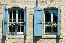 STUNNING FRENCH WINDOW SHUTTERS IN PROVENCE #829 CANVAS PICTURE WALL ART A1