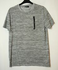 GREY WHITE GENTS CASUAL TOP STRETCH SIZE XS RIVER ISLAND