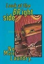 1997 TOWER RECORDS Look at the BRIGHT Side NO MORE LAUNDRY Coffin Postcard