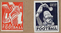 1940's Cleveland Charity Football Lot of 2 Different Cinderella Poster Stamps