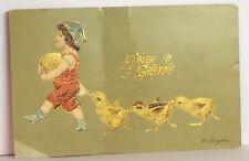 PostCard Vintage Easter Greetings Ye 00004000 llow Chicks & Girl Posted Printed ?-21-19?