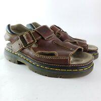 DR DOC MARTENS Mens 10  uk 9 Brown Leather Buckle Slingback Sandals 8A60