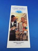 MIDWEST EXPRESS AIRLINE TIMETABLE SCHEDULE JANUARY 1997 TRAVEL ADVERTISING PLANE