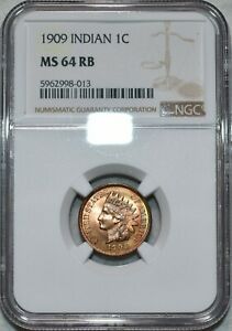NGC MS-64 RB 1909 Indian Head Cent, Beautiful, clearly Full-Red Cherry specimen!