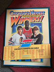 1985 MICHAEL JORDAN WINNERS SPORTSVISION SCHEDULE BULLS POSTER HIGH GRADE