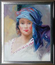 Andrej Iwanow Malschule St. Petersburg: Mädchen blaues Tuch Ölmalerei Leinwand