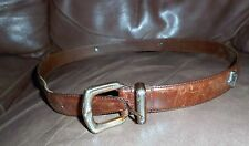 FOSSIL BROWN LEATHER BELT TEXAS STYLE SILVER CONCHOS size LARGE L ~ BT2178 BRN L